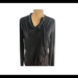 XCVI asymmetrical ruffle zip jacket black sz Large
